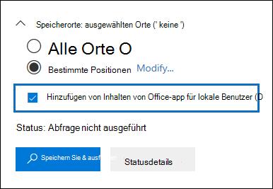 """Das Kontrollkästchen """"Office app-Inhalten für lokale Benutzer hinzufügen"""" wird der Inhalt suchen Benutzeroberfläche hinzugefügt."""