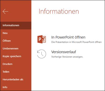 """Auf der Registerkarte """"Info"""" in Office Online wird das Element """"Versionsverlauf"""" angezeigt."""