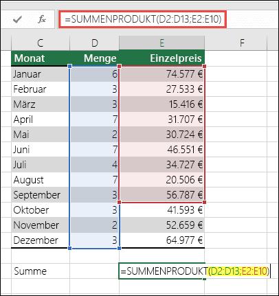 Die SUMMENPRODUKT-Formel, die einen Fehler verursacht, ist =SUMMENPRODUKT(D2:D13;E2:E10) – E10 muss in E13 geändert werden, um dem ersten Bereich zu entsprechen.