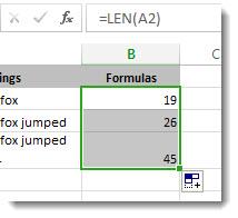 Zählen von Zeichen in Zellen - Excel