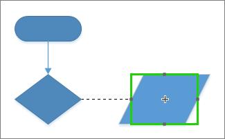 Kleben Sie einen Verbinder an ein Shape, um das dynamische Verschieben des Verbinders zu Punkten auf dem Shape zu ermöglichen.