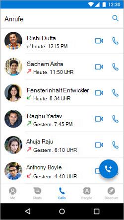 """Screenshot zum Starten eines Anrufs über die Registerkarte """"Anrufe"""" in Kaizala"""