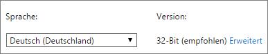 """Eine Sprache auswählen und dann auf """"Erweitert"""" klicken"""