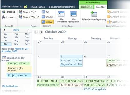 Mehrere Kalender in SharePoint verwenden