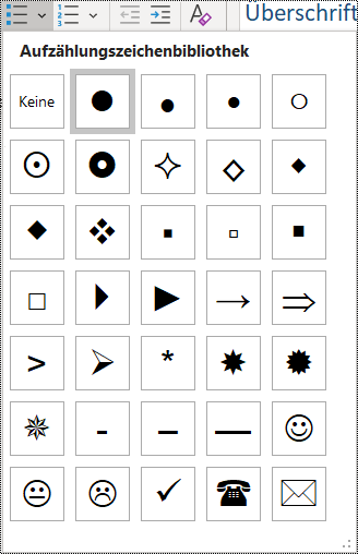"""Screenshot der Auswahl des Listenelements """"Aufzählungszeichen"""" im Menü """"Start""""."""