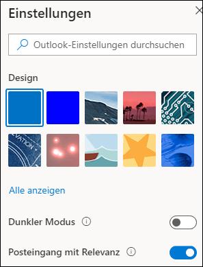"""Ein Screenshot zeigt den Bereich """"Einstellungen"""", in dem die Option """"Posteingang mit Relevanz"""" aktiviert ist."""