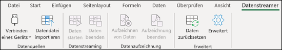 Datenstreamer-Add-In für Excel-Menübandmenü