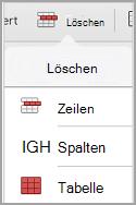 """iPad: Tabelle, Menü """"Löschen"""""""