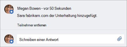 Ein externer Benutzer, der einer Nachricht hinzugefügt wurde