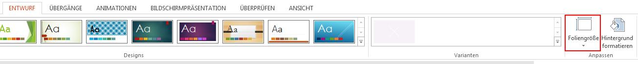 """Klicken Sie auf der Registerkarte """"Entwurf"""" in der Gruppe """"Anpassen"""" auf """"Foliengröße""""."""