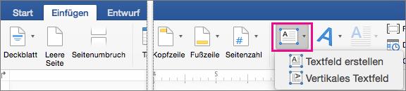 """Auf der Registerkarte """"Einfügen"""" ist das """"Textfeld"""" hervorgehoben."""