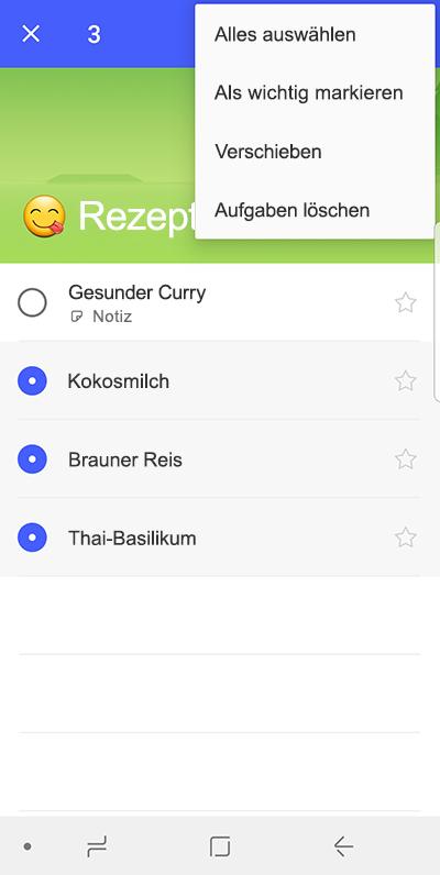 Screenshot mit der Option zum umStieg auf Android