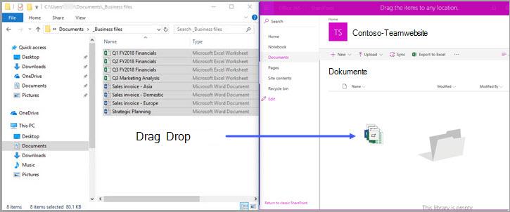 Office 365 SharePoint-Dokumentbibliothek- Drag & drop