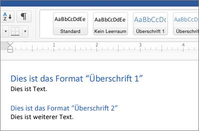 """Beispiele für die Formatvorlagen """"Überschrift 1"""" und """"Überschrift 2"""" in einem Dokument"""
