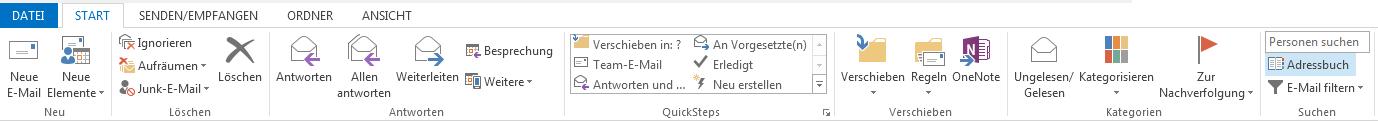"""Das Adressbuch befindet sich auf der Registerkarte """"Start"""" auf der rechten Seite des Menübands."""