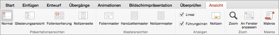 """Registerkarte """"Ansicht"""""""