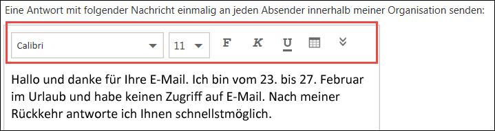 """Outlook im Web – Nachricht """"Automatische Antworten"""""""