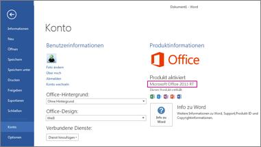 Word RT mit der Anzeige des Fensters 'Datei' > 'Konto'