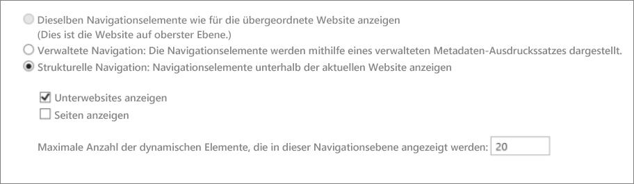 Screenshot mit Unterwebsites