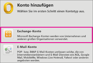 Extras > Konten > Exchange-Konto