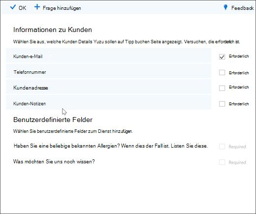 Bildschirm erfassen: mit der master Liste der benutzerdefinierten Fragen.