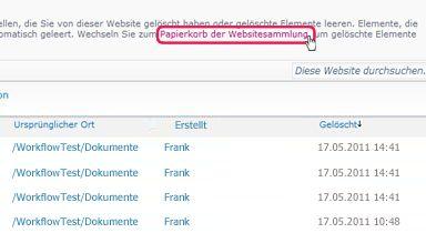 Link 'Papierkorb der Websitesammlung'