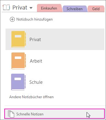 """Screenshot des OneNote 2016-Notizbuchbereichs, in dem """"Schnelle Notizen"""" hervorgehoben ist"""
