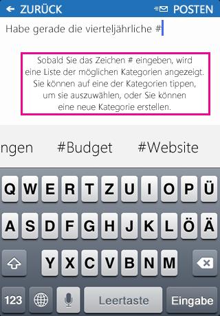 Screenshot des Hinzufügens eines Hashtags (#) zu einem Beitrag in der SharePoint Newsfeed-App