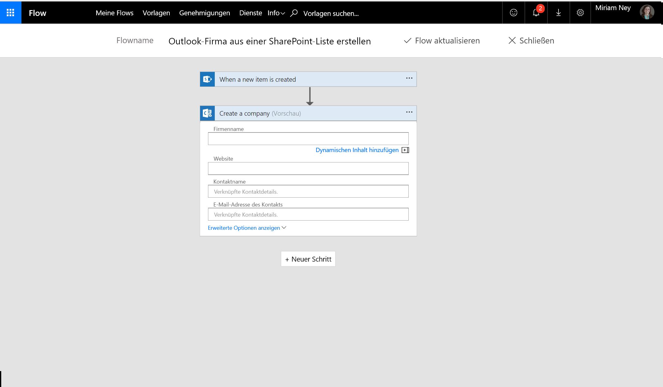 Screenshot zum Erstellen eines Unternehmens mithilfe des Flows