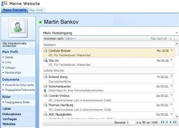 Webpart 'Mein Posteingang' auf 'Meine Website'