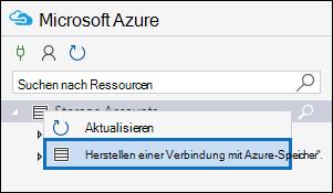 """Klicken Sie mit der rechten Maustaste auf """"Speicherkonten"""", und klicken Sie dann auf """"Mit dem Azure-Speicherdienst verbinden""""."""