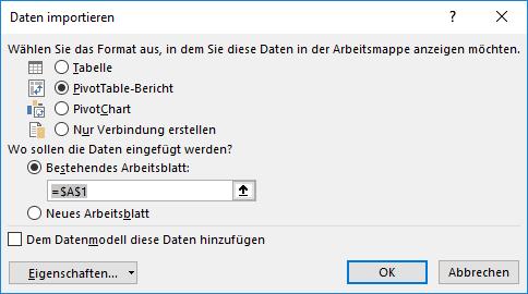 Daten Verbindungs-Assistent #a0 Daten importieren