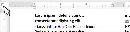 Mac-Schaltfläche ' Links ' auf dem Lineal