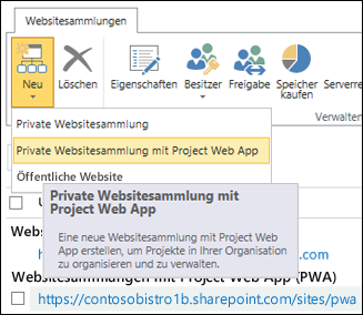 Neu > Private Websitesammlung mit Project Web App