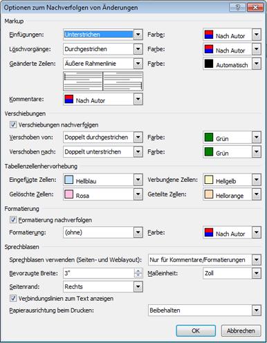 """Screenshot des Dialogfeld """"Optionen zum Nachverfolgen von Änderungen"""""""