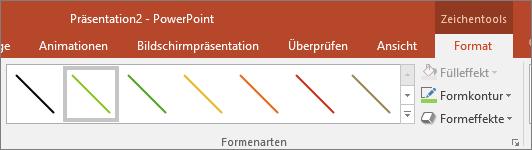 Abbildung von 'Schnellformatvorlage' für Linien in Office