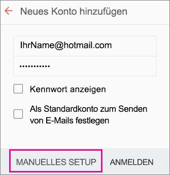 """Manuelles Setup"" auswählen"
