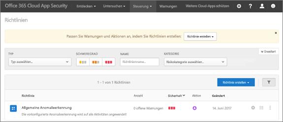 """Wenn Sie zum Office 365 Cloud App Security-Portal navigieren, beginnen Sie mit der Seite """"Richtlinien""""."""