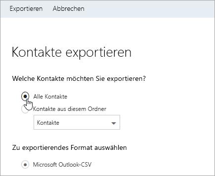 """Screenshot des Dialogfelds """"Kontakte exportieren"""""""