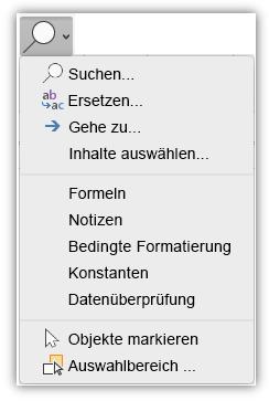 """Screenshot des Menüs """"Suchen und auswählen"""", das der Registerkarte """"Start"""" auf dem Menüband hinzugefügt wurde."""