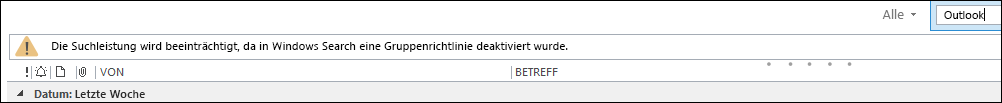 Windows-Desktopsuche deaktiviert