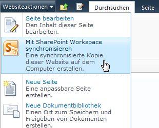 Mit SharePointWorkspace synchronisieren