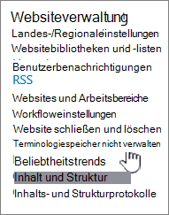Laufzeit Store Management Link Websiteeinstellungen