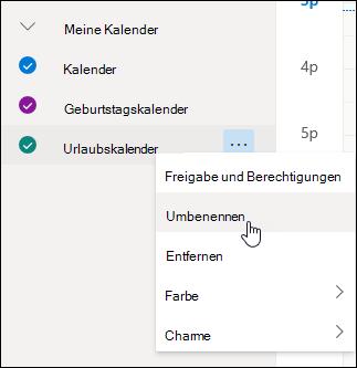 """Screenshot des Kalender-Kontextmenüs, in dem """"Umbennen"""" ausgewählt ist."""