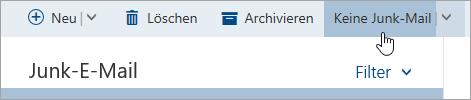"""Screenshot der Schaltfläche """"Keine Junk-E-Mail"""""""
