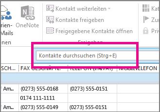 Auf der Registerkarte 'Personen' auf 'Kontakte suchen' klicken