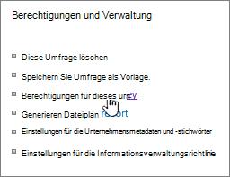 """Berechtigungen und Verwaltung, """"Umfrageeinstellungen"""" hervorgehoben"""