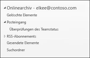 Ordnerliste eines Archivpostfachs vor der Bereitstellung der automatisch erweiterten Archivierung