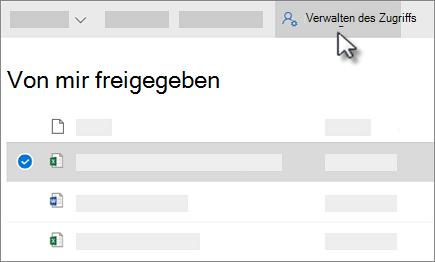 """Screenshot der Schaltfläche """"Zugriff verwalten"""" in der Ansicht """"für mich freigegeben"""" in OneDrive for Business"""