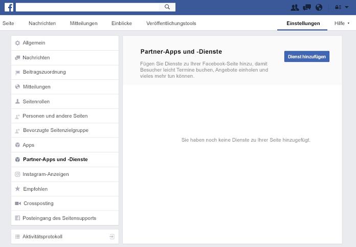 Bereich Partner-Apps und Dienste